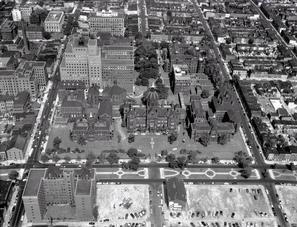 Aerial view of Johns Hopkins Hospital and medical complex