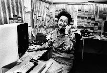 Resource specialist Ruth Spiess taking a phone call in the admitting department, Johns Hopkins Hospital