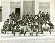 Black students gathered in front of Shriver Hall.