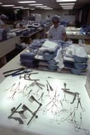 Workers sorting surgical supplies for operations at Johns Hopkins Hospital