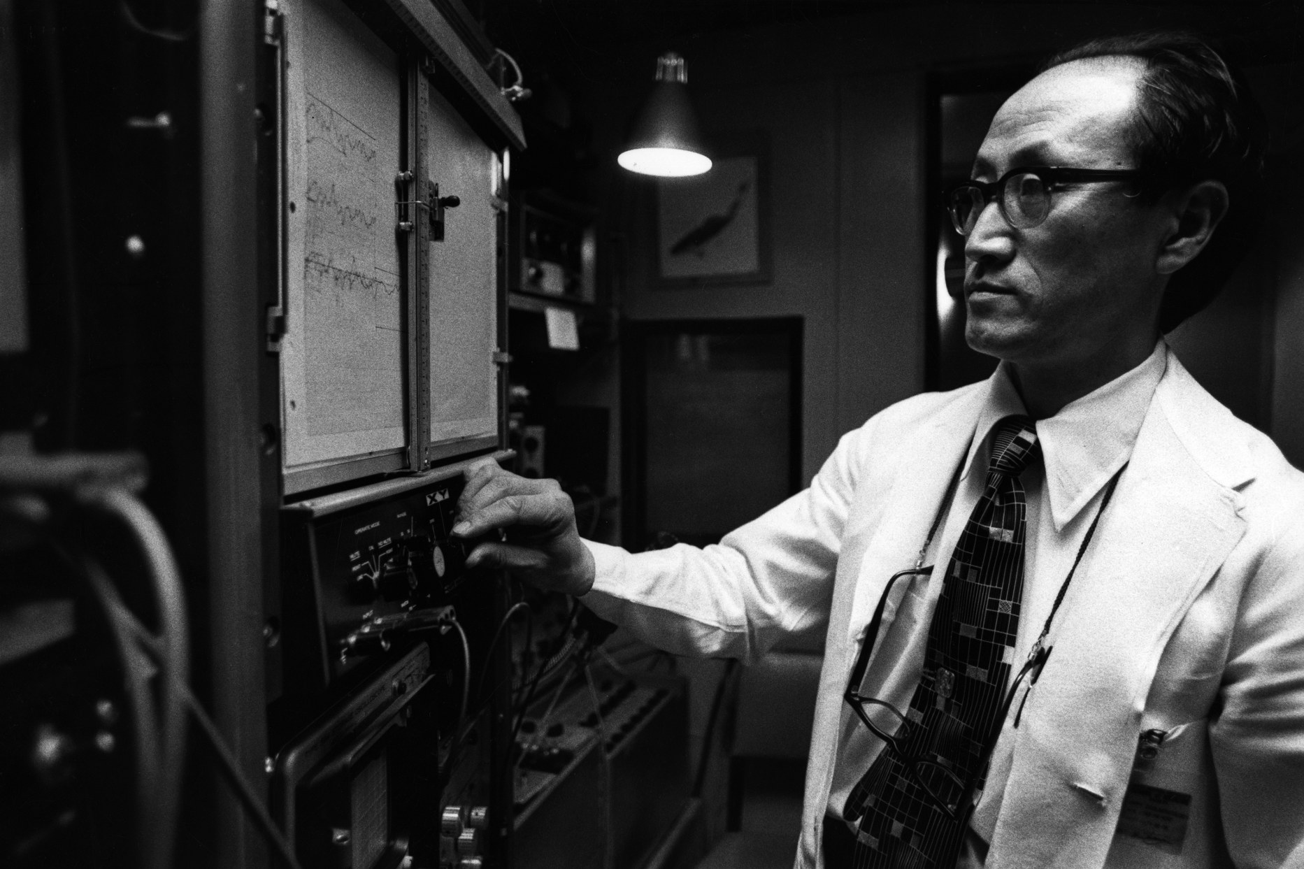 Hiroshi Shimizu at work in Hearing and Speech Clinic Laboratory