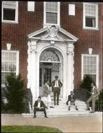 Students on the steps of Alumni Memorial Residences I