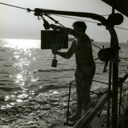 Scientist on board the Maury in the Chesapeake Bay, 1952.