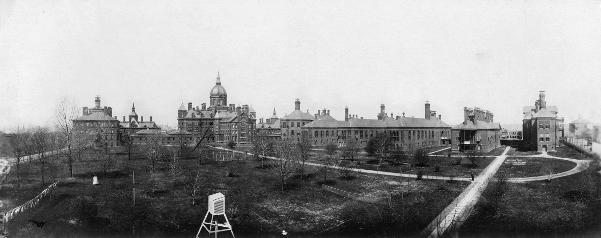 Johns Hopkins Hospital, rear panoramic view with grounds